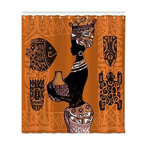 N / A Impresión de Cortina de Ducha Cortina Impermeable de Mujer Africana Impresión de Tela de poliéster Baño Ducha Cortina de Ducha Impermeable y a Prueba de Moho A3 180x200cm