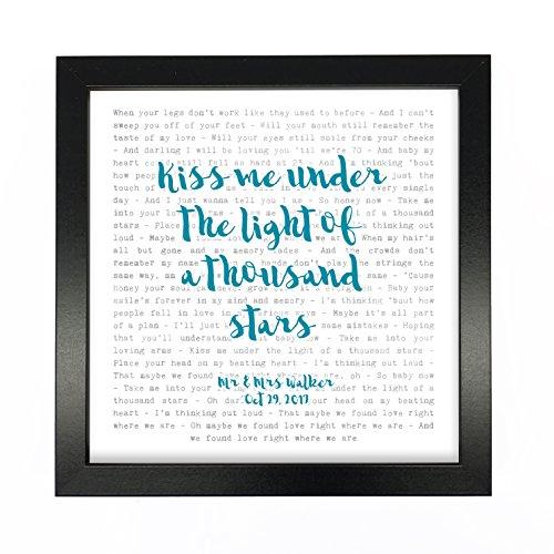 NOT JUST A PRINT Ed Sheeran, Thinking Out Loud–Typografie Songtext, gerahmt, personalisierbar–Jahrestag Valentinstag Hochzeit Geschenk perfekt für sie, ihn, Paar