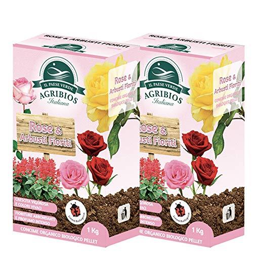 KOLLANT 2X Concime Biologico Granulare per Rose e Arbusti Fioriti, Piante in Vaso e Ornamentali| AGRIBIOS Fertilizzante Bio per Piante Arbusti Rosa
