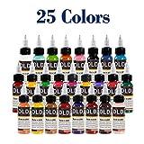 Tinta para tatuaje para todo uso 25 Conjunto de colores primarios Suministros de tatuaje Pigmento para tatuaje permanente Color de pintura corporal 0.5 onza (15 mililitros)