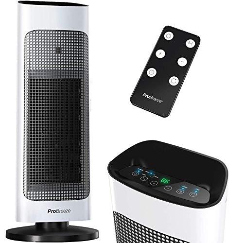 Pro Breeze Calentador de Torre de Cerámica de 2000 W. con Pantalla LED Digital, Control Remoto, Oscilación Automática, Termostato Incorporado, 2 Configuraciones de Calor, Modos Eco y Solo Ventilador