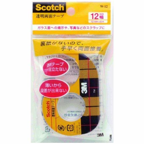 住友スリーエム W-12 スコッチ 透明両面テープ 小巻 12mm ディスペンサー付き おまとめセット【3個】