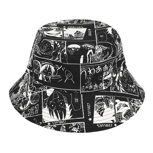 Amacigana Sombrero de dibujos animados Anime One Piece Print sombrero de pescador Adultos Exterior Algodón Hombres y Mujeres para tomar el sol