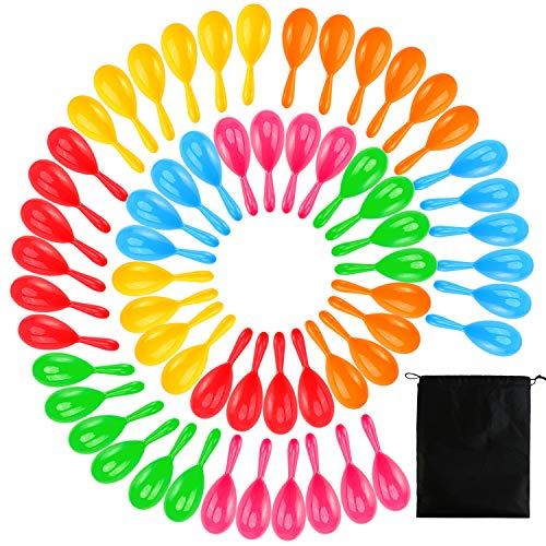Buy Bargain Ruisita 60 Pack Neon Maracas Shakers Noisemaker Mexican 6 Color Mini Maracas Bulk Bright...