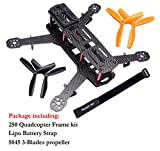 Readytosky 250mm FPV Racing Drone Frame 5 Inch Carbon Fiber Quadcopter Frame Kit with 4mm FPV Frame Arms+Lipo Battery Strap