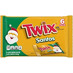 Contains one (1) 6-count pack of 1.06-ounce santa-shaped TWIX Holiday Caramel Chocolate Cookie Bars Each TWIX Cookie Bar is shaped like Santa Claus Filled with holiday cheer and delicious flavor, these tasty candy bars are great stocking stuffers The...