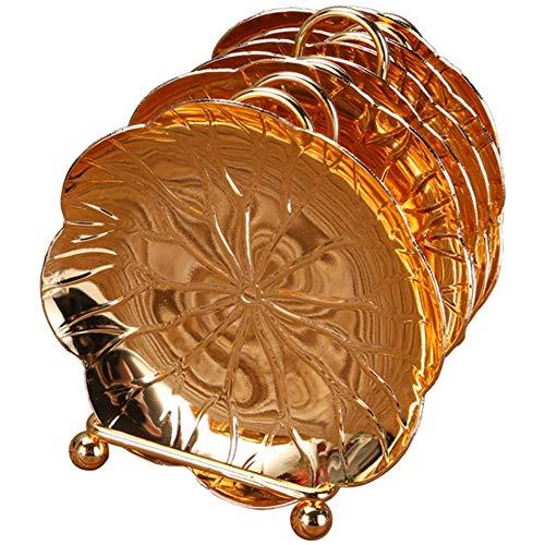 Kirmax Style Européen sous-Verres Imprégnés Set de Thé Accessoires Soucoupe Fait Main Manique Tasse à Café Tapis (Or)