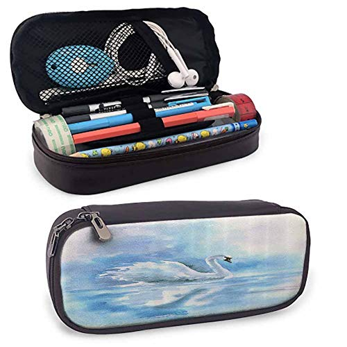Animal Decor PU Leather Small Pencil Pouch Watercolor Drawing Picture of A Swan in The River Hazy Color Aqua Concept Picture Print for Student Office College Middle School High School Blue White