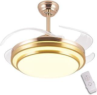 GaoHX 42 Pulgadas luz del Ventilador de Techo, Dormitorio salón Ventilador de Techo con luz LED Incorporado y Mando a Distancia, con 4 aspas Transparentes, LED 36 W, 3 velocidades, 3 Colores, Dorado