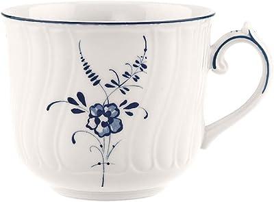 Villeroy & Boch Old Lu x Embourg Cup, 350 ml, Premium Porcelain, White/Blue