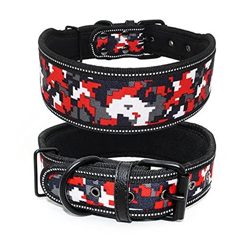 Collar de Perro Grande Reflectante de 1 Pieza con Hebilla Collar Ajustable para Mascotas para Perros pequeños, medianos y grandes-06, M
