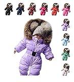 Sameno Infant Baby Clothes 0-24 M Cotton Bodysuit Boy Girl Romper Fur Hooded Jumpsuit Warm Coat Outfit Winter Snowsuit (Violet, 3-6 Months)