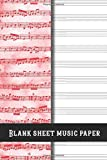 Musician's manuscript paper: Pocket size manuscript notebook for music notation on the go -  12 plain Stave's / staff's per page for the musician, ... student - Pink vintage style cover art design