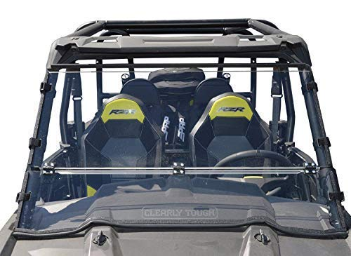 Clearly Tough Polaris RZR 1000 Folding Windshield for (2014-2018 Models) and RZR S Models (2019 & Newer). Also fits 2015 & Newer RZR 900 Models - Scratch Resistant - True Half Windshield When Folded.