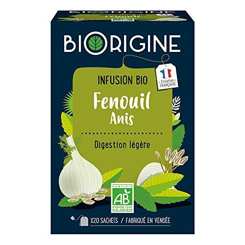 BiOrigine – Infusion bio Digestion Légère – Fenouil & anis – Ingrédients d'origine naturelle – Fabriqué en France – 20 sachets