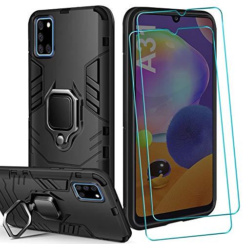 AROYI Funda Compatible con Samsung Galaxy A31 y 2 Pack Protector Pantalla Cristal Templado, Suave Armadura híbrida Robusta Soporte Magnético Plegable Bumper Case Anti-arañazos - Negro