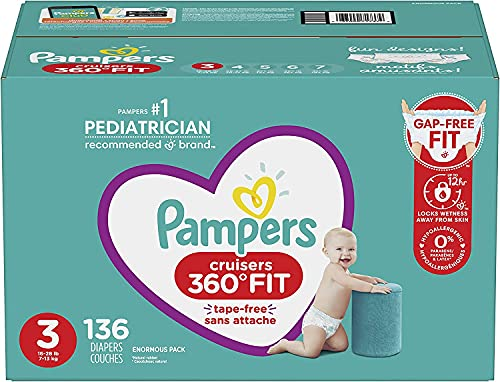 Pampers Diapers Pull On Cruisers 360° Fit Disposable Baby Diapers with Stretchy Waistband Enormous Pack(Packaging May Vary), Size 3, 136 Count