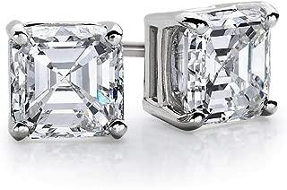 3.00 Ct Asscher Cut D/VVS1 Diamond Solitaire Stud Earrings 14k White Gold Plated
