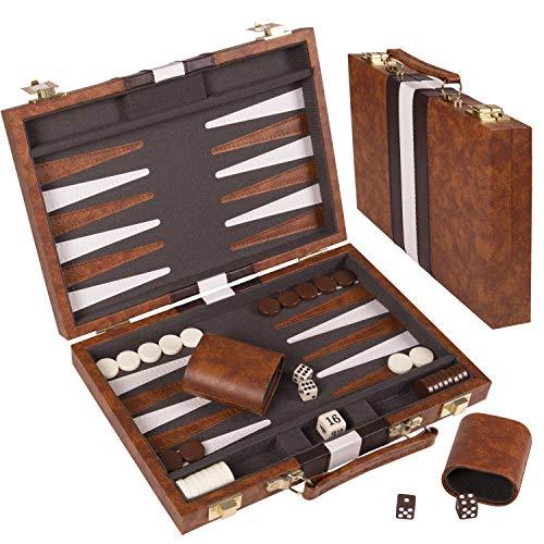"11"" Faux Leather Vinyl Backgammon Set; Favorite Backgammon Board Game; Best in Classic Board Games…"