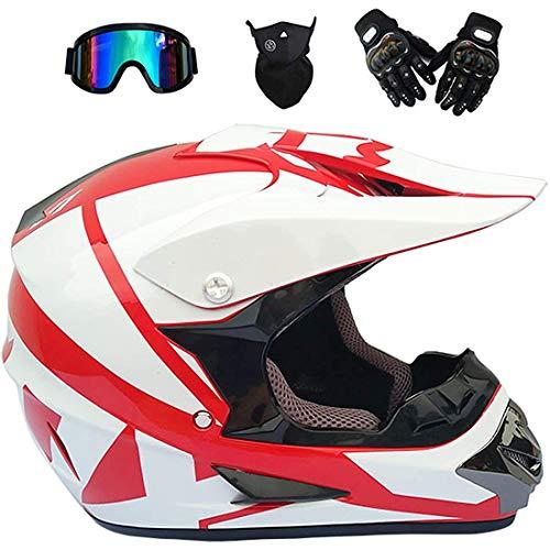 Kids Motocross Helmet, Youth Adult Electric Dirt Bike Full Face Motorbike Helmet Set for Quad Bikes BMX Bicycle MTB ATV Offroad DH, DOT Certification