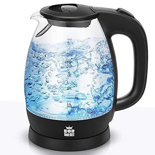 ForMe Glas Wasserkocher 1,7 I Glaswasserkocher I Wasserkessel 2200W I Kalkfilter I Blau LED Teekessel I 360°-Sockel I Abschaltautomatik I Trockengehschutz I Edelstahl I BPA Frei