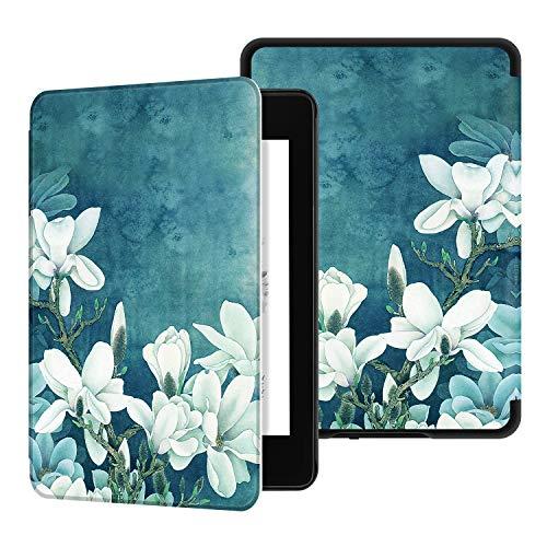 Ayotu Custodia in Pelle PU per Kindle Paperwhite-Custodia impermeabile dipinta per svegliarsi/dormire automaticamente(solo per Kindle Paperwhite 10ªgen-modello 2018),magnolia