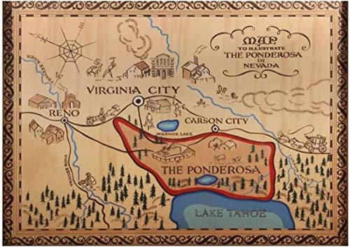 Refosian Bonanza Die Ponderosa Ranch Karte Film Kunst Film Druck Poster Home Wanddekor Leinwand Wandkunst für Wohnzimmer -24X32 Zoll ohne Rahmen