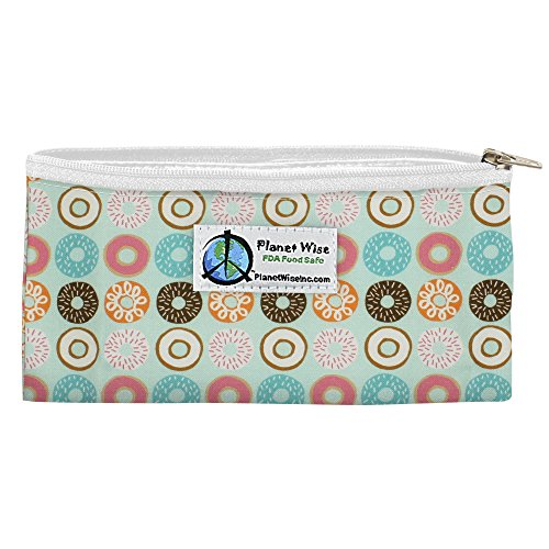 Planet Wise Reusable Zipper Sandwich and Snack Bags, Snack, Donut Delight