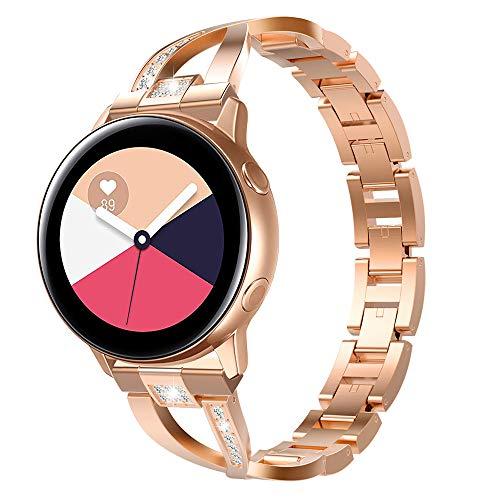 Emibele kompatibel mit Galaxy Watch 42mm/Galaxy Watch Active/Active2 /Gear Sport/Gear S2 Classic, 20mm Edelstahl Metall Uhrenarmband für Garmin Vivoactive 3, Huawei Watch 2 - Roségold