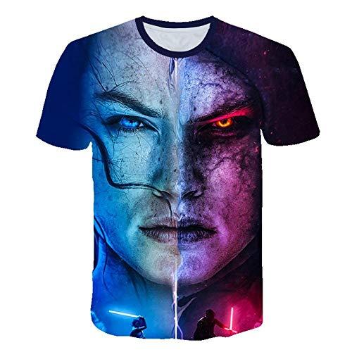 Unisex Sommer T-Shirt 3D-Digitaldruck Star Wars: Der Aufstieg der Skywalker-Serie Muster lässig Männer und Frauen Kurze Ärmel-S_S.