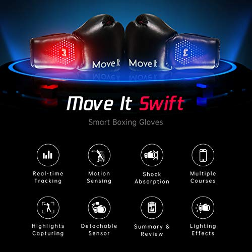 Smart Boxing Gloves(Move It), Bluetooth Phone App Connection, Punching Data Tracking with Training Courses, Auto Picture/Video Capture of Your Coolest Moment