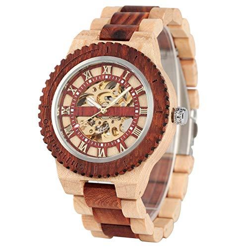 Reloj de Madera Natural para Hombre, Reloj de Pulsera mecánico, Esqueleto Dorado, Movimiento automático, Reloj de Madera de Lujo para Hombre, modelo2