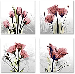 Niterny Art Abstract Red Tulip Flower Painting Artwork Modern Vivid Floral Canvas Picture Print for Living Room Home Decoration