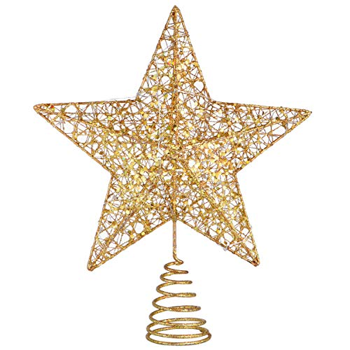 TOYANDONA Christmas Tree Topper 5 Point Star Treetop Lighted Star Tree Topper for Christmas Tree Decorations,25 x 30cm, Golden