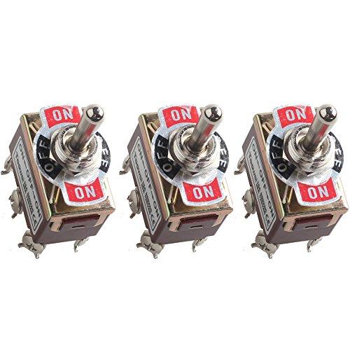 Mintice™ 3 X Interrupteur Inverseur à Bascule momentané Levier en Métal ON/OFF/ON 6 Terminal Pin DPDT Poids Lourd 20A 125V 15A 250V Voiture Moto