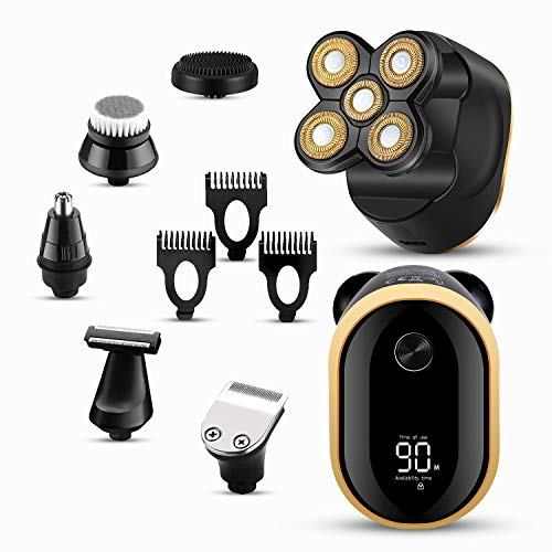 Electric Razor for Men 6 in1 Bald Head Shaver -Multifunctional Electric Razor for Men Grooming Kit-LED Display Shavers for Men -Cordless Electric Shavers Men, USB Rechargeable,Waterproof