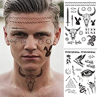 glaryyears 8 Sheets Large Black Temporary Tattoos, 50+ Designs for Halloween Day of the Dead Masquerade Party Makeup for M...
