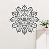 Mandala redonda Boho Mandala Yoga vinilo pared pegatina cabecera planta Natural decoración de pared
