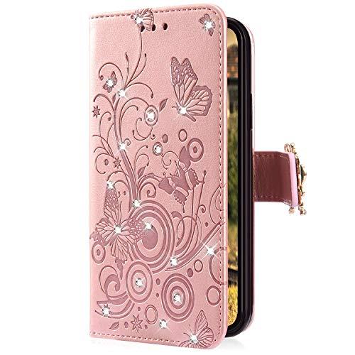 Uposao Kompatibel mit Samsung Galaxy A70 Handyhülle Schmetterling Blumen Muster Diamant Strass Bling Glitzer Leder Wallet Schutzhülle Brieftasche Leder Hülle Klapphülle Brieftasche Tasche,Rose Gold