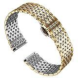BINLUN Cinturino Orologio Cinturino Sottile Acciaio Inossidabile Cinturino Cinturino Per Orologio da Polso Uomo Cinturino Per Uomo 12mm/14mm/16mm/18mm/20mm/22mm con Fibbia a Farfalla