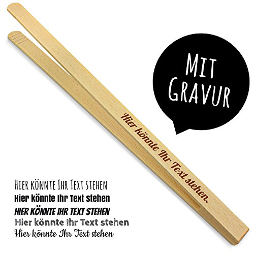 printplanet - Holz Grillzange mit Namen graviert - Gravierte Holzgrillzange mit eigenem Text - 40 cm Länge