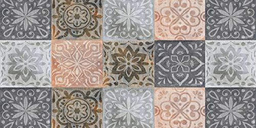 De'Carpet Alfombra VINILICA Estampada Vinilo Base Goma Natural FÁCIL Limpieza 100% Antideslizante Acolchada BALDOSA Vintage (57X115cm)