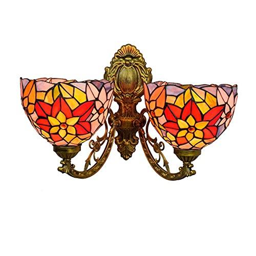 HYWFX Aplique De Pared Estilo Tiffany De 2 Luces, Lámpara De Pared Decorativa con Pantalla De Vitral De Arte Rural De 8'para Escalera, Dormitorio, Pasillo (Size : Ordinary Base)