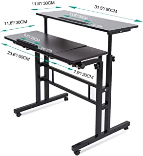 Mobile Desk Stand Up Desk Black Multi-Purpose Height Adjustable Laptop Table Computer Cart with Wheels for Home Office Work Station Mobile Display Holder