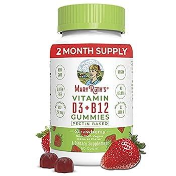Vitamin D3 B12 Gummies by MaryRuth s Vegan Daily Supplement for Adults & Kids Non-GMO Vitamin D3 1000 IU & 250 mcg Vitamin B12 2 Month Supply  60 Gummies