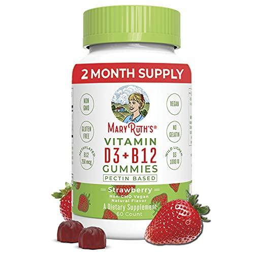 Vitamin D3, B12 Gummies by MaryRuth's, Vegan Daily Supplement for Adults & Kids, Non-GMO, Vitamin D3 1000 IU & 250 mcg Vitamin B12, 2 Month Supply (60 Gummies)