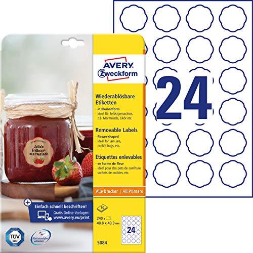 AVERY Zweckform Marmeladenetiketten Art. 5084 (240 Aufkleber ablösbar, 40,8x40,3mm auf A4, Blumenform, für Einmachgläser, Gebäcktüten, Geschenke, Selbstgemachtes aus der Küche) 10 Blatt weiß