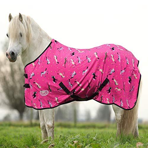 York Pony Abschwitzdecke mit Kreuzgurt Horsi Fleecedecke Turnierdecke Pink (125 cm)