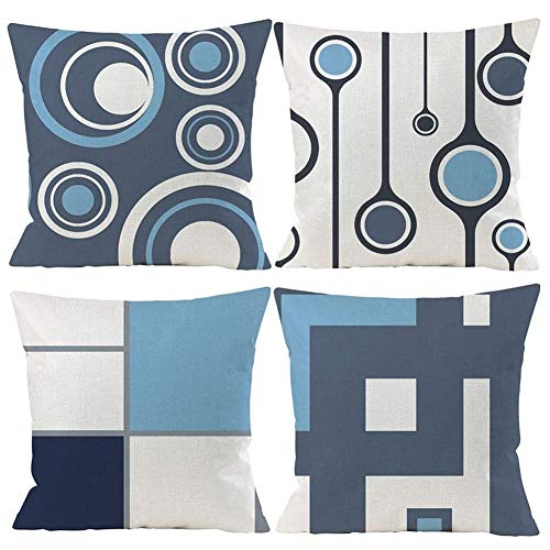 Gspirit 4 Pack Fundas Cojines 45x45 Moderno Azul Algodón Lino Throw Pillow Case Cojines Decoracion