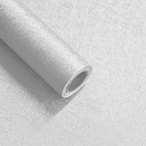16' X 118' White Embossed Peel and Stick Wallpaper White Contact Paper Self Adhesive Wallpaper Removable Wallpaper Decoration Vinyl White Wallpaper Decor Shelf Liner Drawer Liner Wall Decor Film Roll